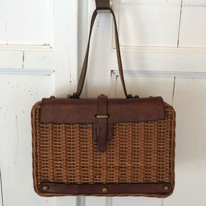 Vintage woven rattan |  leather Purse